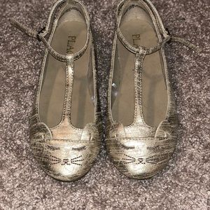 Girls gold flats with straps